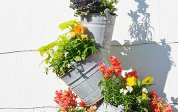 Topsy Turvy Fall Buckets on Our Deck