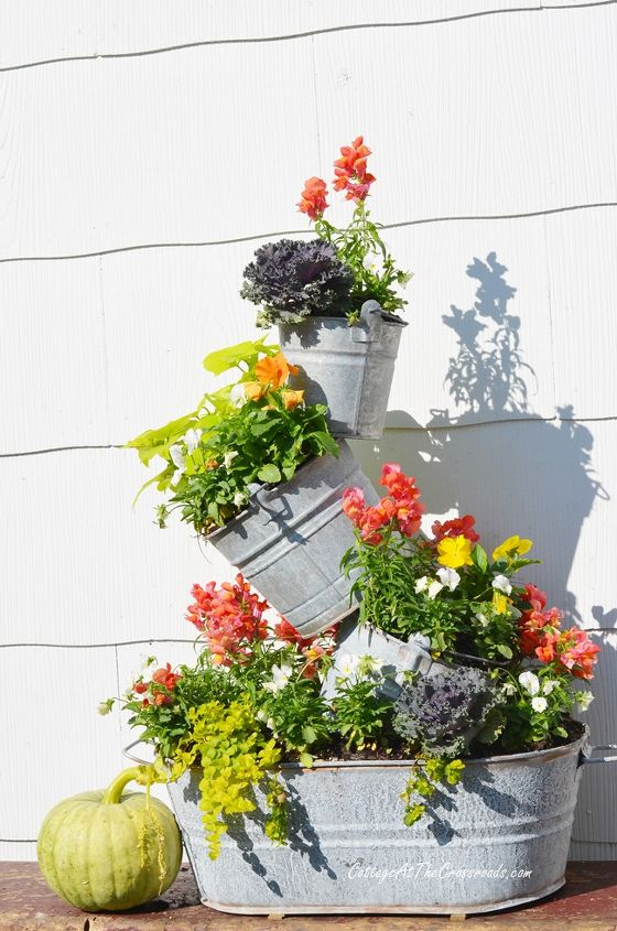 topsy turvy planter fall buckets deck, container gardening, decks, gardening