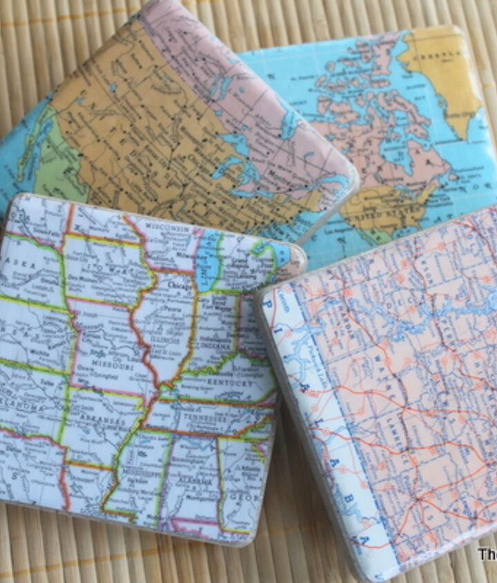 Map coasters would be perfect in your home!  http://www.thecountrychiccottage.net/2012/07/diy-map-coasters.html