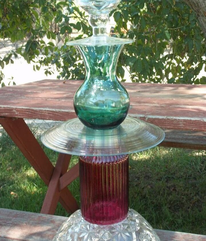 Solar Bird Bath - This piece won our local Upcycle Contest this summer!
