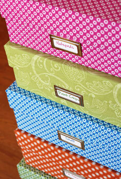 one yard decor fabric covered boxes, crafts, Stack of fabric covered boxes