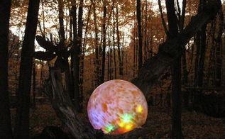 lighted gazing ball, diy, gardening, how to, lighting, My original beloved Fairyball