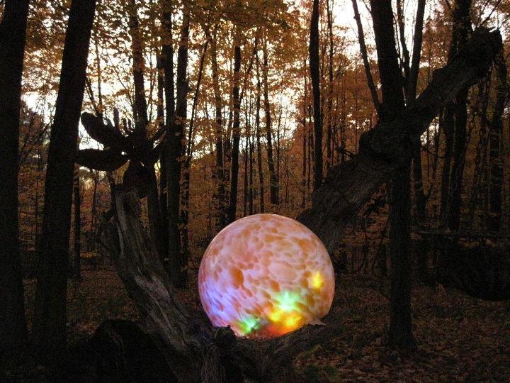 Outdoor Lighted Spheres Lighted gazing ball hometalk lighted gazing ball workwithnaturefo