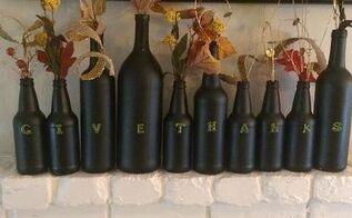 fun diy thanksgiving wine bottle decor, home decor, repurposing upcycling, seasonal holiday decor, Fresh idea for the fireplace