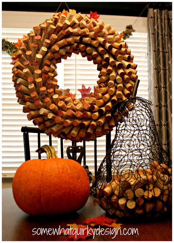 What a wine cork wreath looks like right after you make it.