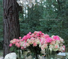 a crystal chandelier above a table in the woods yep i love it, lighting, outdoor living