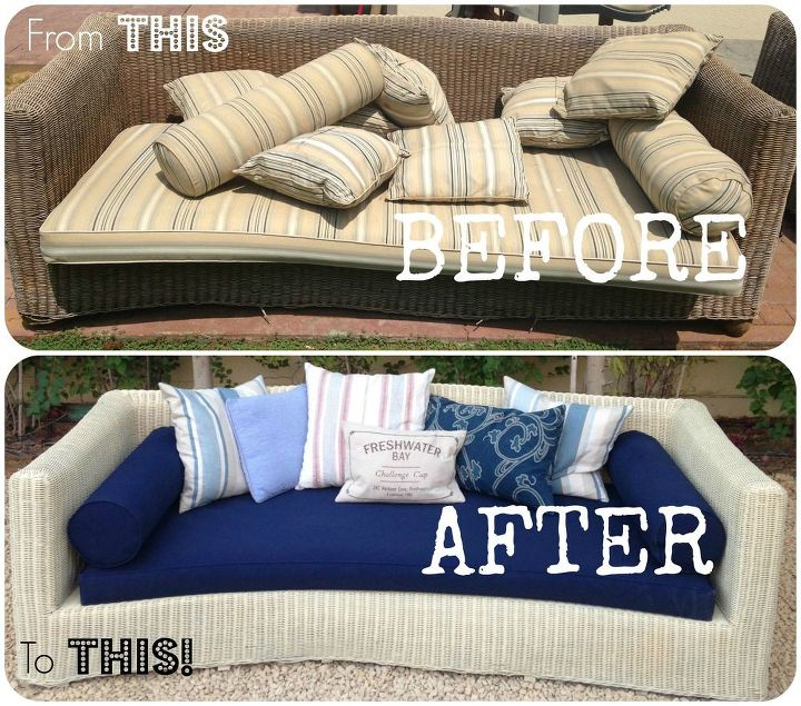 outdoor furniture old wicker couch refinish, outdoor furniture, painted furniture, repurposing upcycling,