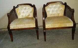 q upcycling upholstery cane barrel chair ideas, painted furniture, reupholster
