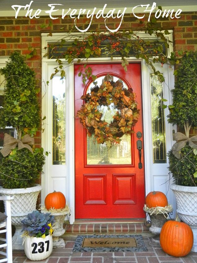 my southern front porch dressed in its fall finery, curb appeal, seasonal holiday decor, windows, wreaths, My Southern front porch dressed for Fall