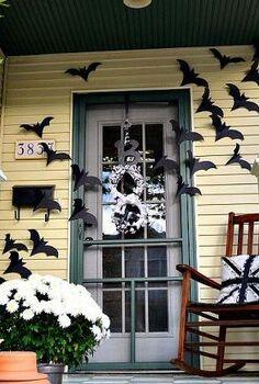bats on the door decor for halloween, crafts, doors, halloween decorations, seasonal holiday decor, Bats flying across the door