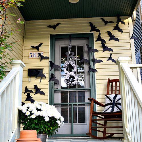 Bats flying across the door