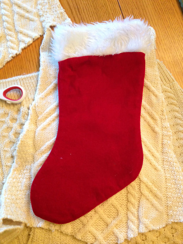 turn an old sweater into a stocking, christmas decorations, crafts, repurposing upcycling, seasonal holiday decor