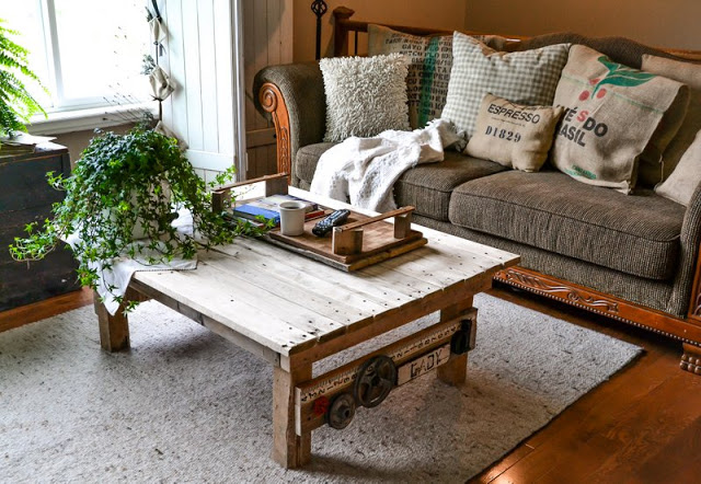 This little junk styled coffee table is the perfect fit for our living room.