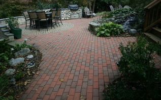 pond and patio, outdoor living, patio, We took up the old patio created our own pattern and blend the old with the new