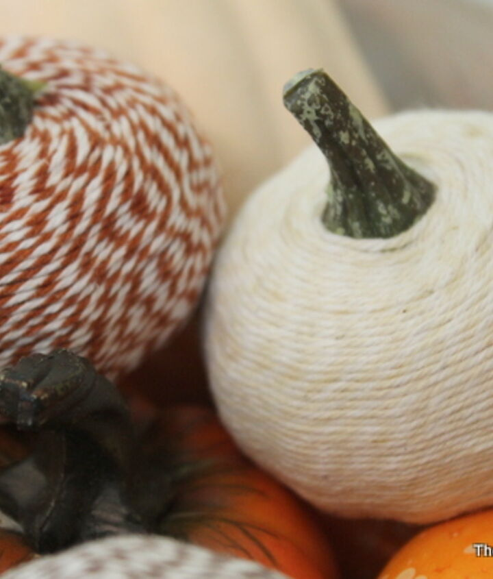 Mini bakers twine pumpkins for your home.  Learn how to make them here:  http://www.thecountrychiccottage.net/2012/10/bakers-twine-pumpkins.html