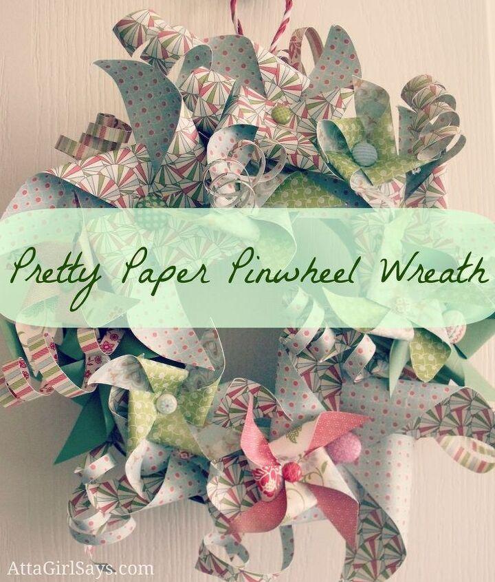Paper Pinwheel Wreath by AttaGirlSays.com