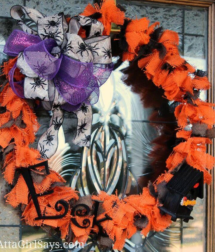 Orange and Black Burlap Halloween Rag Wreath with Purple Accents