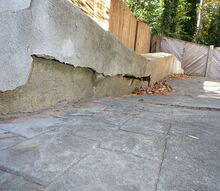 q sink hole under driveway retaining wall, concrete masonry, home maintenance repairs, outdoor living