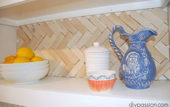 diy herringbone wood shim backsplash, diy, kitchen backsplash, kitchen design, woodworking projects