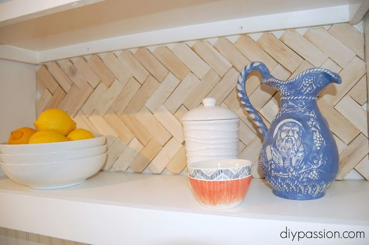 diy herringbone wood shim backsplash, diy, kitchen backsplash, kitchen design, woodworking projects