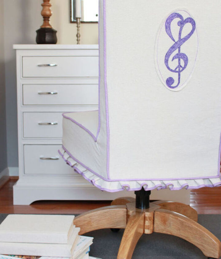 drop cloth slip gives new life to a chair, painted furniture, reupholster