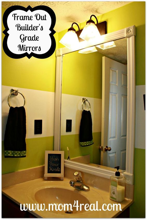 Frame out your builders grade mirrors mitering required frame out your builder s grade mirrors no mitering required bathroom ideas home decor solutioingenieria Image collections
