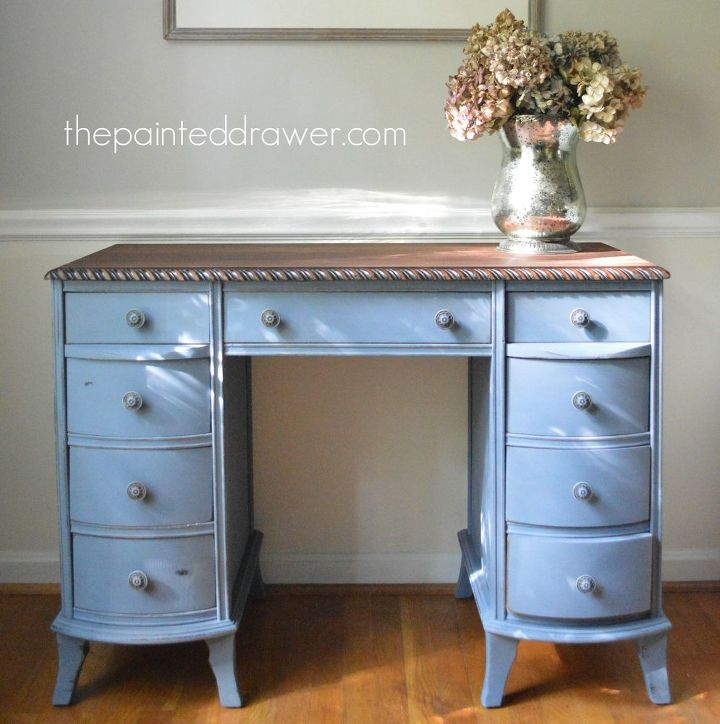 Painted Furniture Old Rope Trimmed Desk Makeover Chalk Paint Home Decor
