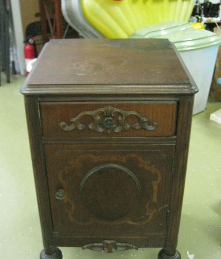 The Nightstand before... Structurally sound, but showed years of wear and tear!