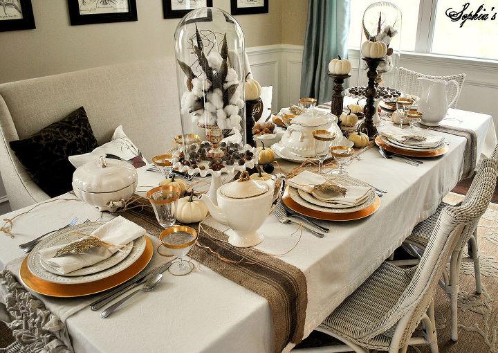 rustic glam thanksgiving table setting, christmas decorations, seasonal holiday d cor, thanksgiving decorations, Dining Room is ready for Thanksgiving