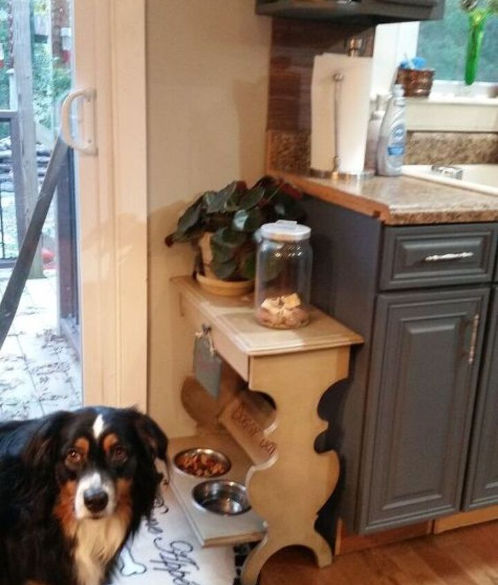 upcycling magazine table dog feeding bar, home decor, organizing, painted furniture, pets animals, repurposing upcycling