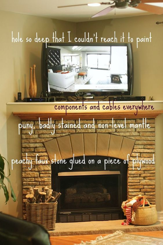 my rustic diy fireplace makeover, fireplaces mantels, home decor, Fireplace Before
