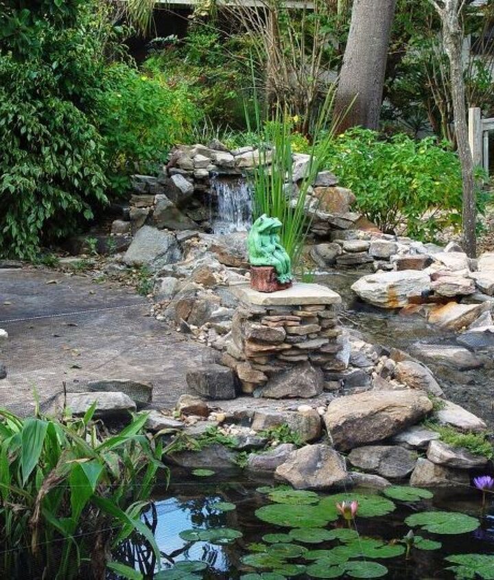 2 of 9 stone pedestals - waterfall view