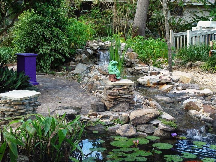 heron deterrent amp pond, outdoor living, ponds water features, 2 of 9 stone pedestals waterfall view