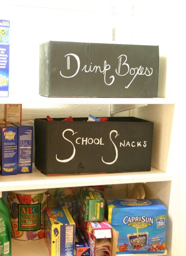 chalkboard cardboard bins, chalkboard paint, cleaning tips, crafts, storage ideas