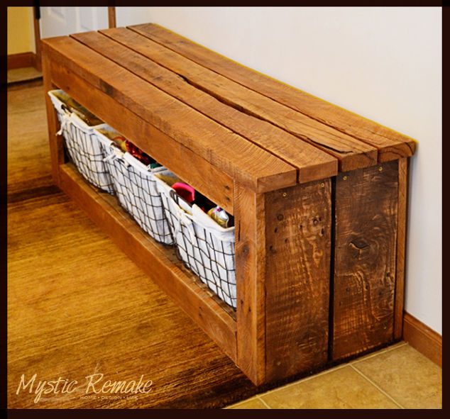 Shoe Storage Bench Diy Pallet Repurposing Upcycling Ideas