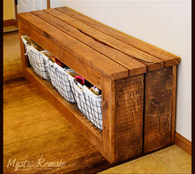 Pallet Wood Storage Bench Hometalk