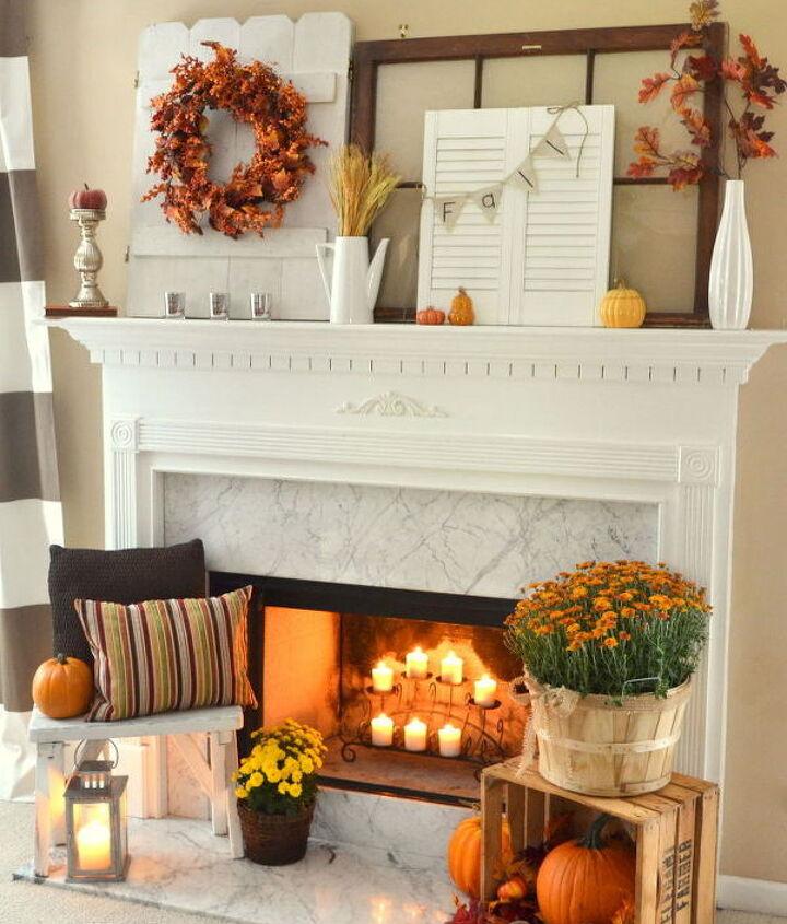 fall fireplace mantel rustic mums, crafts, fireplaces mantels, repurposing upcycling, seasonal holiday decor