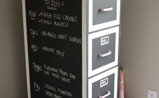 chalkboard paint file cabinet makeover, chalkboard paint, craft rooms, home office, organizing, storage ideas
