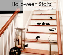 halloween decorations stairs mice pumpkins, halloween decorations, seasonal holiday decor, stairs