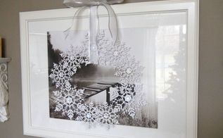snowflake wreath, crafts, wreaths, Hang in front of a window or another picture using a long ribbon