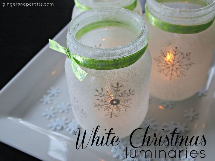 White christmas mason jar luminaries hometalk white christmas mason jar luminaries christmas decorations crafts decoupage electrical lighting solutioingenieria Images