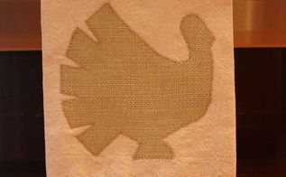 burlap turkey embellished drop cloth tea towel, seasonal holiday d cor, thanksgiving decorations, Burlap turkey on a tea towel created from a drop cloth