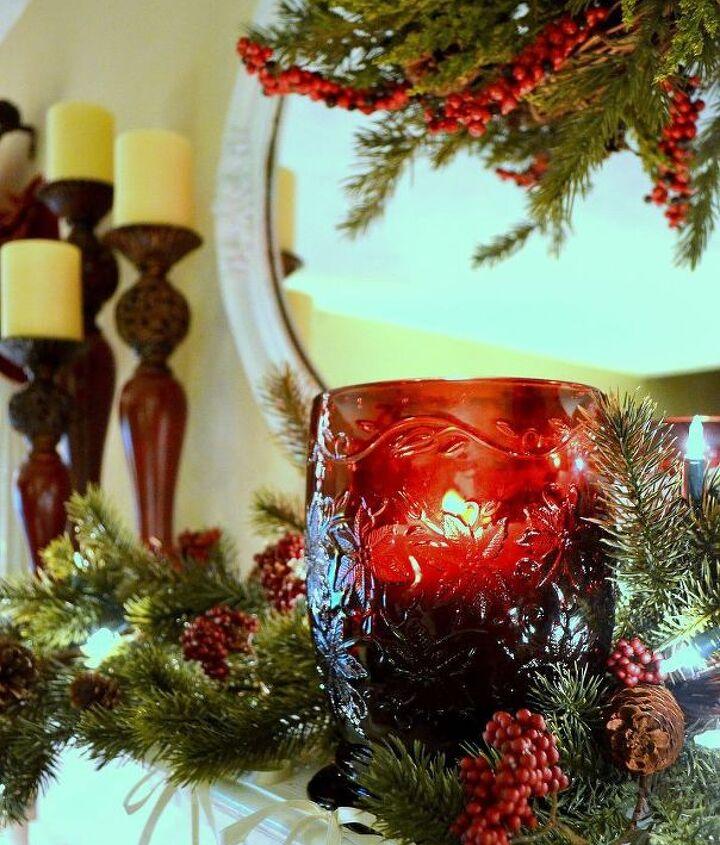 Christmas mantel closeup