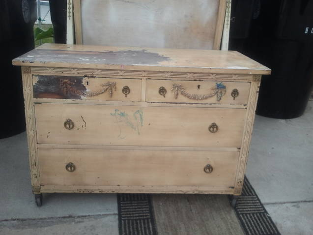 Antique Dresser And Mirror Refurb Chalkboard Paint Painted Furniture Before Picture