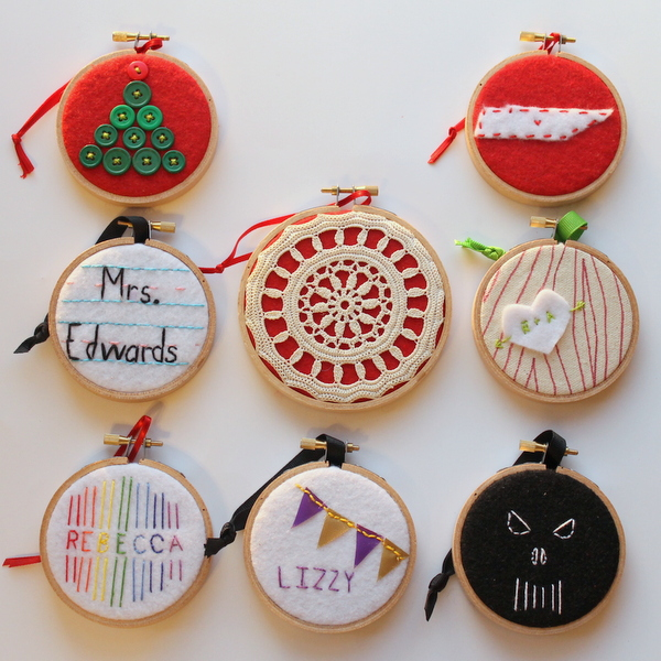 Eight ornaments made from embroidery hoops! http://www.craftsunleashed.com - Eight Embroidery Hoop Ornaments For Everyone On Your Christmas List