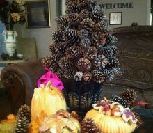 pine cone tree, christmas decorations, crafts, seasonal holiday decor, One tree with my fall decor For Christmas I add bows or ribbons to dress it up