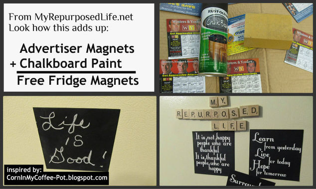 reuse repurpose those free magnets chalkboard paint crafts i roughed them up with - Reuse Repurpose