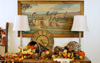 thanksgiving wall art from thrift store art print, crafts, dining room ideas, seasonal holiday decor, thanksgiving decorations, nostalgic autumn print by Eric Sloane Give Thanks by me