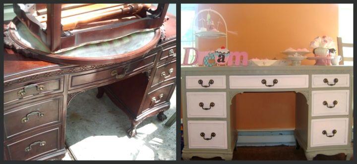 vintage vanity redo, painted furniture, Before After