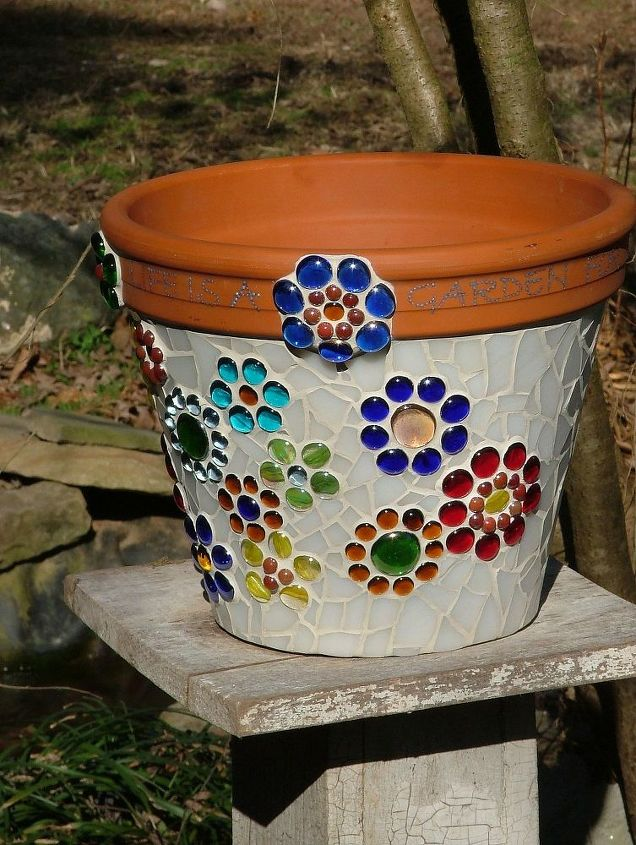Mosaic Flower Pot made from stained glass and glass beads ...